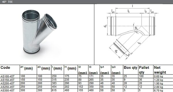 45° Tee - for ADP Group Services Ductwork Solutions - Spiral Ducts and Fittings