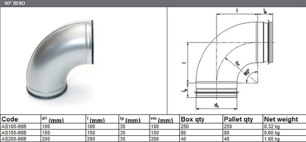 90° Bend - for ADP Group Services Ductwork Solutions - Spiral Ducts and Fittings