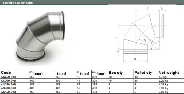 Segmented Bend 90° - for ADP Group Services Ductwork Solutions - Spiral Ducts and Fittings